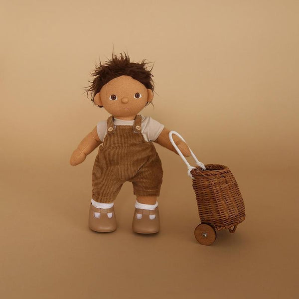 US stockist of Olli Ella's Esa Overalls Set.  Contains gender neutral brown corduory overalls with wooden buttons and seperate t-shirt.