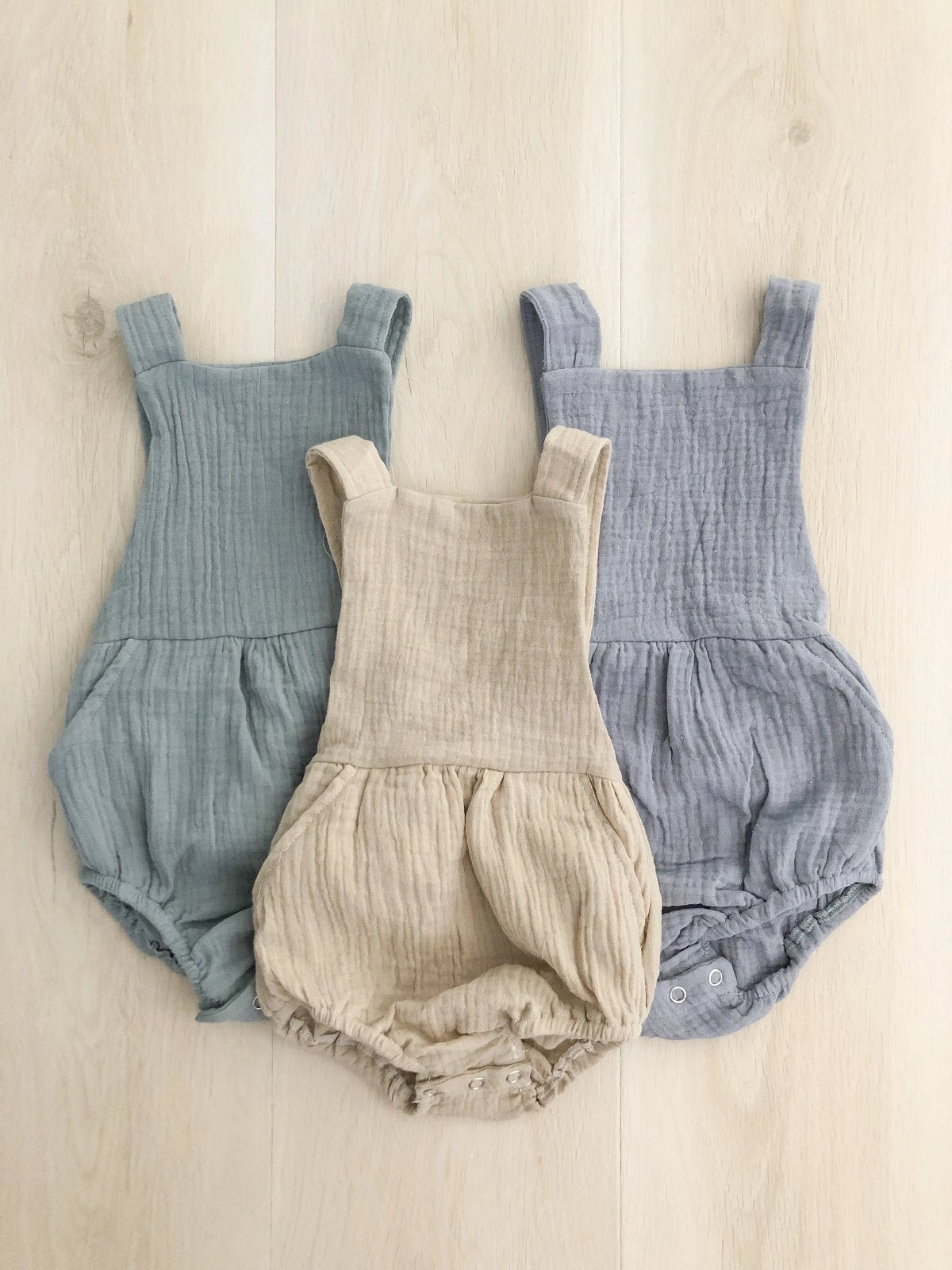 US stockist of Fable & Ford's Stone Cheescloth Leo Pocket Romper
