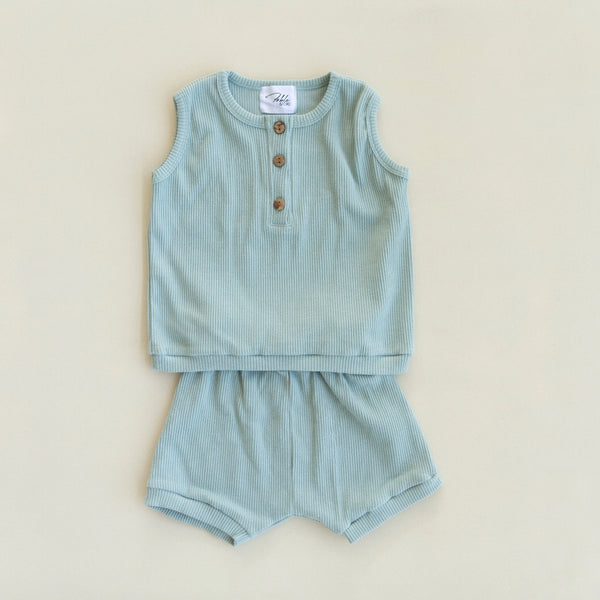 US stockist of Fable & Ford's 2Pc Ribbed Cotton Teal Ray Set