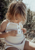 US stockist of Fable & Ford Oceania V Back Ribbed Cotton Bodysuit in Vanilla with White Trim