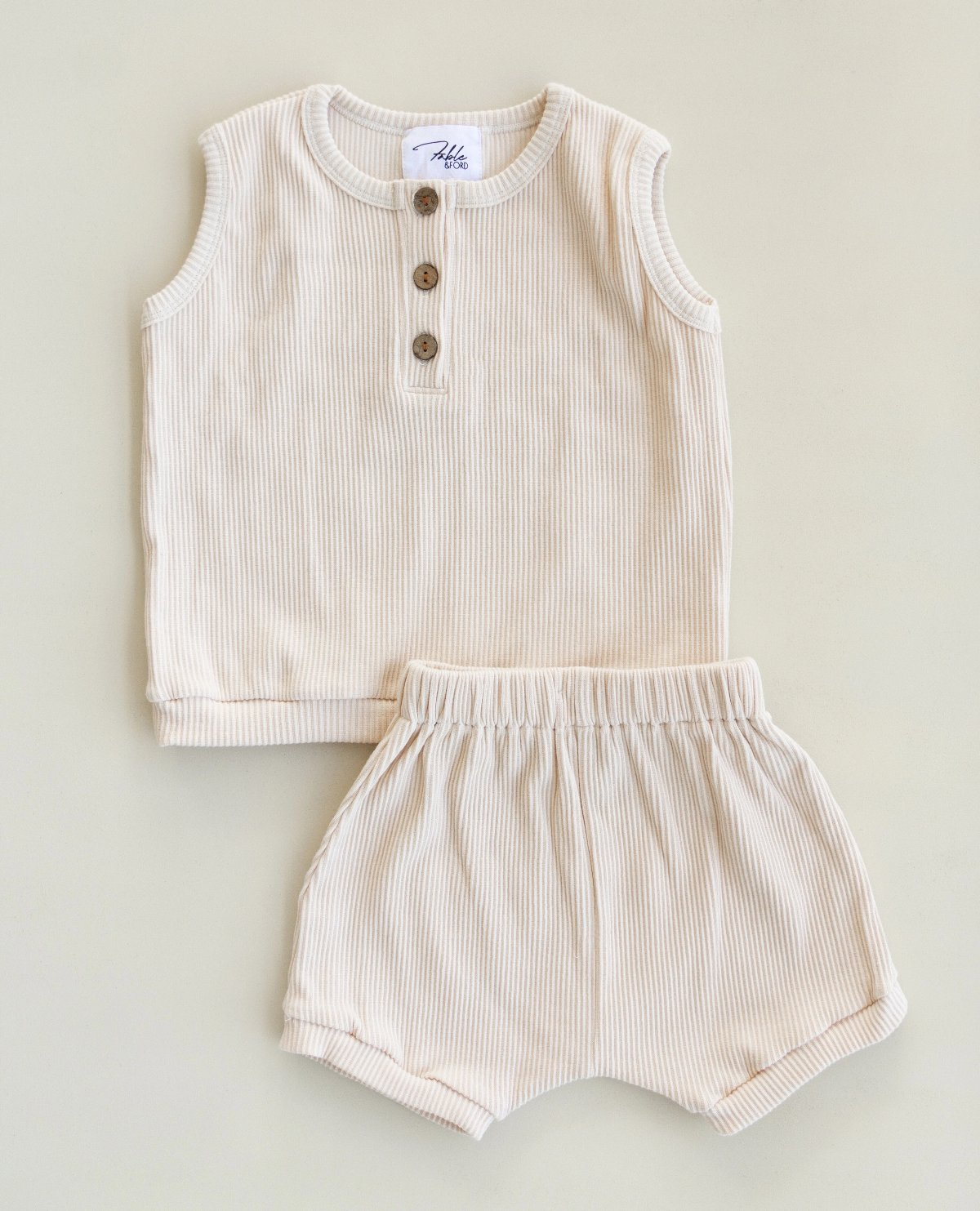 US stockist of Fable & Ford's 2Pc Ribbed Cotton Vanilla Ray Set