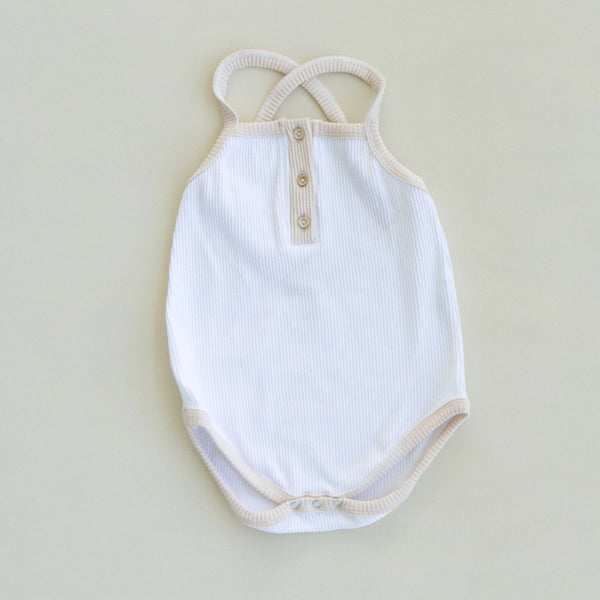 US stockist of Fable & Ford Oceania V Back Ribbed Cotton Bodysuit in White with Vanilla Trim