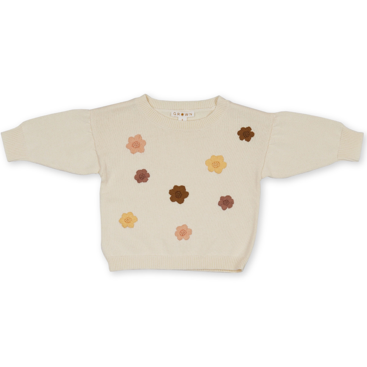 US stockist of Grown Clothing's Flower Power Sweater.  Made from 100% organic cotton in milk with hand embroidered flowers on the front in brown, yellow and blush.