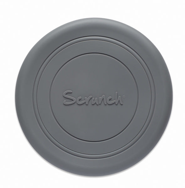 US stockist of Scrunch's recyclable Cool Grey Flyer.  Made from soft, non-toxic food grade silicone, this frisbee can be squished, squashed, folded and rolled without ever losing its shape.