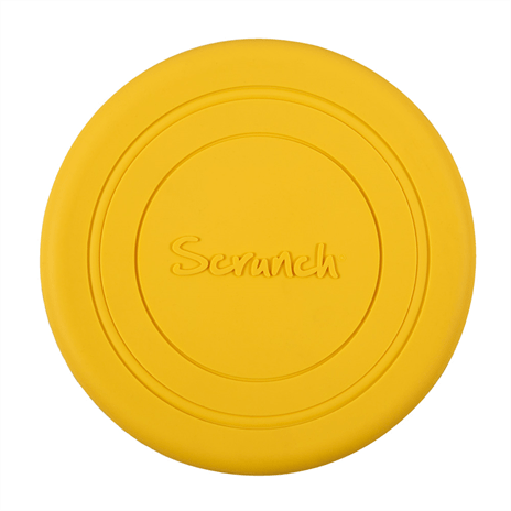 US stockist of Scrunch's recyclable Mustard Flyer.  Made from soft, non-toxic food grade silicone, this frisbee can be squished, squashed, folded and rolled without ever losing its shape.