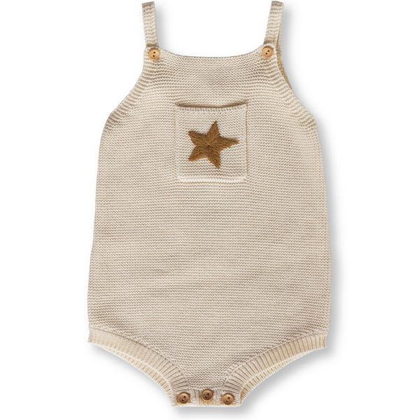 US stockist of Grown Clothing organic cotton pearl knit romper in milk with star embroidery.