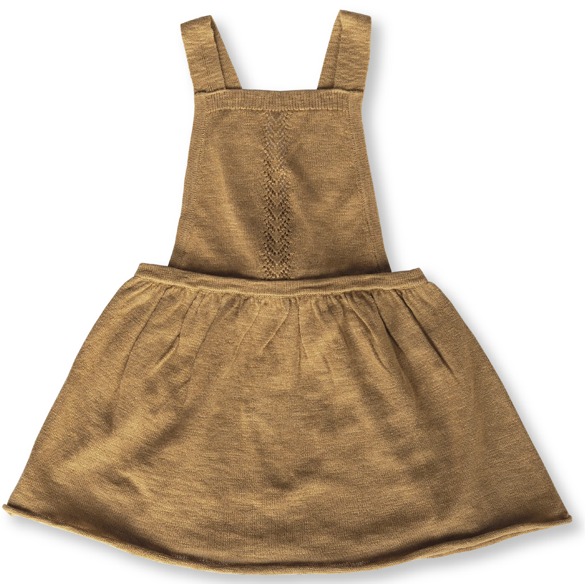 US stockist of Grown Clothing's slub linen dress in warm harvest gold.  Made from a cotton line blend, with adjustable straps that tie in a bow at the back.  Features a rolled hem and sweet pointelle knit details down the front of the dress.