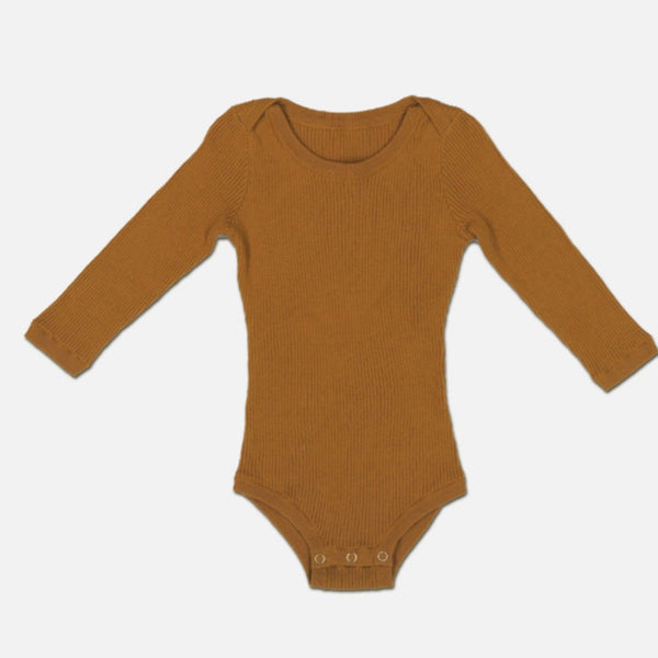 US stockist of Grown harvest gold organic cotton ribbed bodysuit/onesie