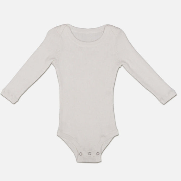 US stockist of Grown snow white organic cotton ribbed bodysuit/onesie