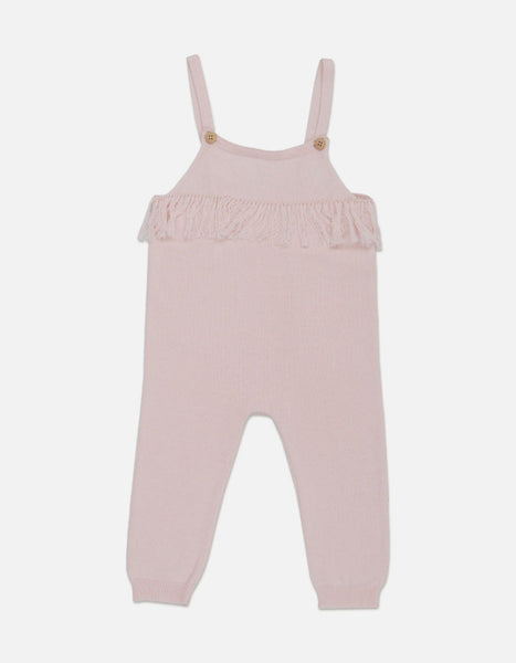US stockist of Grown organic cotton blush pink frill overalls