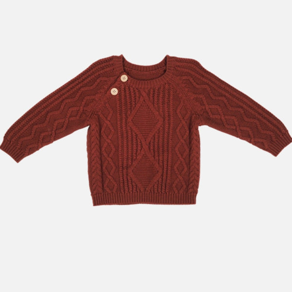 US stockist of Grown organic cotton ketchup red cable knit sweater