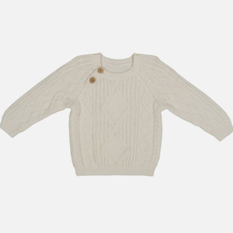 US stockist of Grown organic cotton milk cable knit sweater