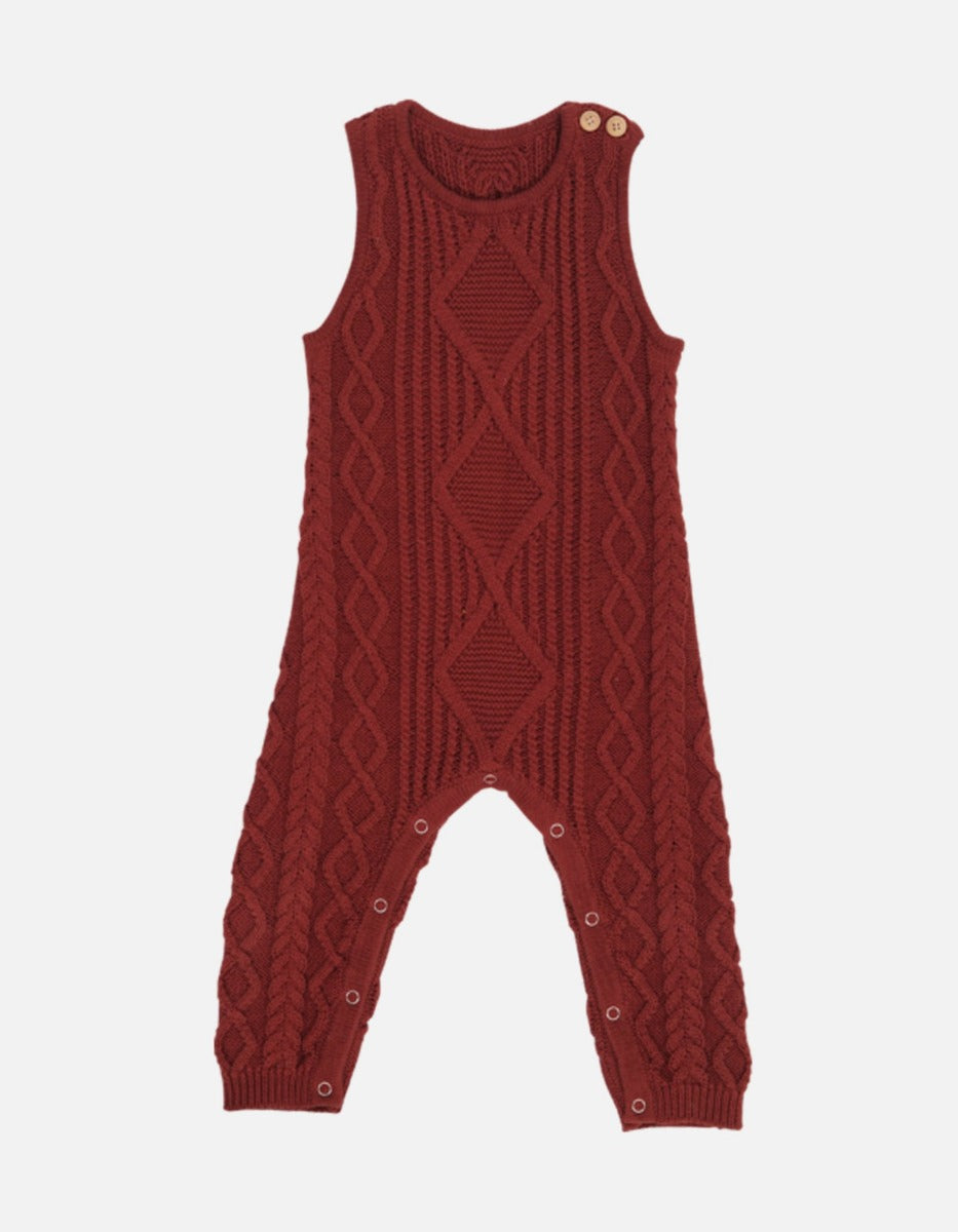 US stockist of Grown organic cotton ketchup red cable knit romper