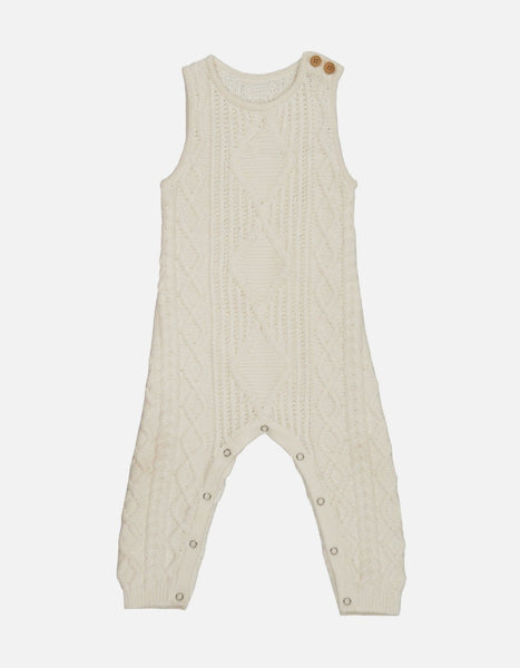 US stockist of Grown organic cotton milk cable knit romper