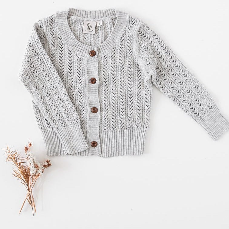 US stockist of Karibou Kids 100% cotton Penny cardigan in Grey Marle.
