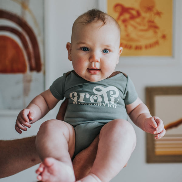 "US stockist of My Brother John ""Grow Your Own Way Short Sleeve Bodysuit"