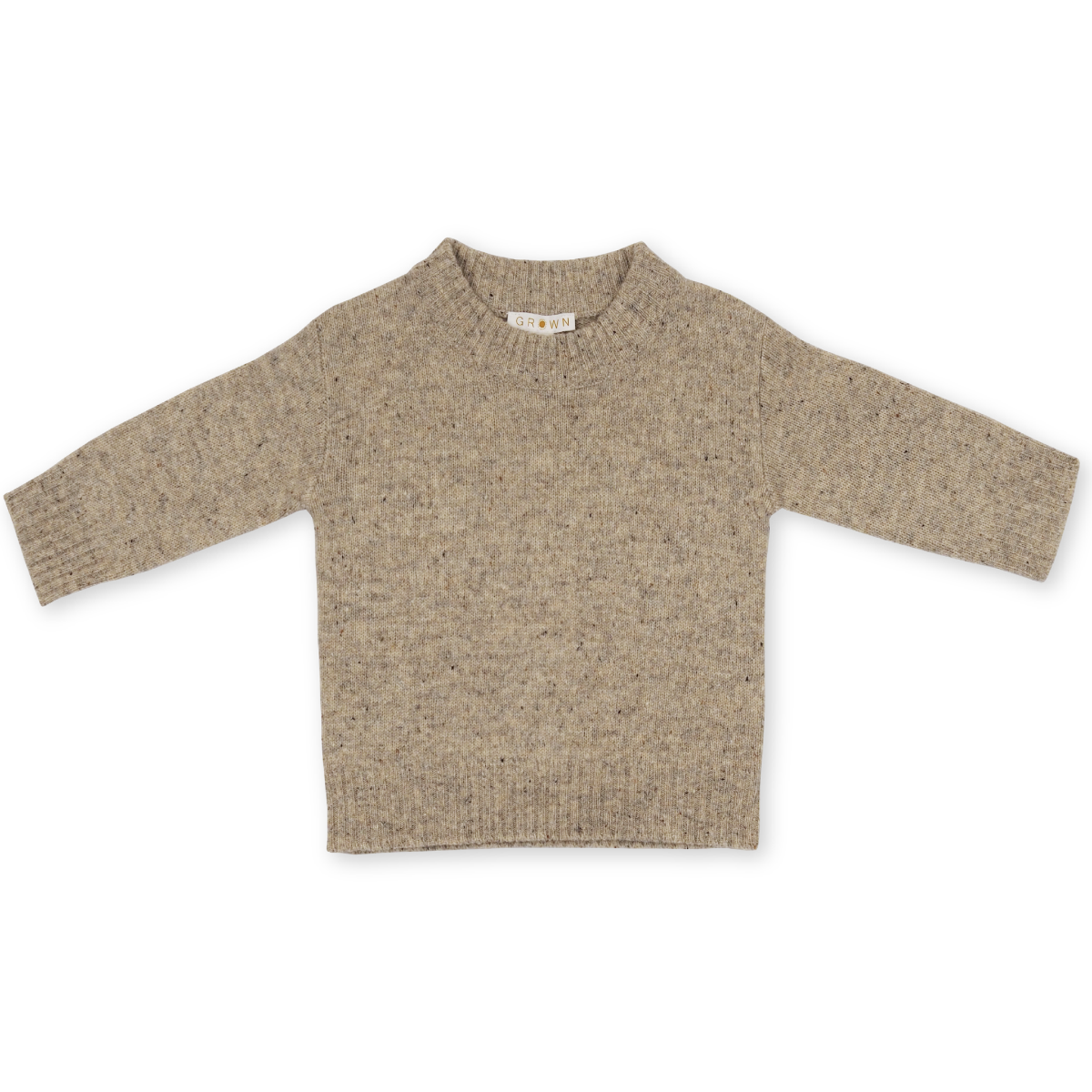 US stockist of Grown Clothing's gender neutral speckled stone sweater.  Made from extra fine Australian merino wool with a dropped shoulder and a rib finish at the neck, hem and cuffs.