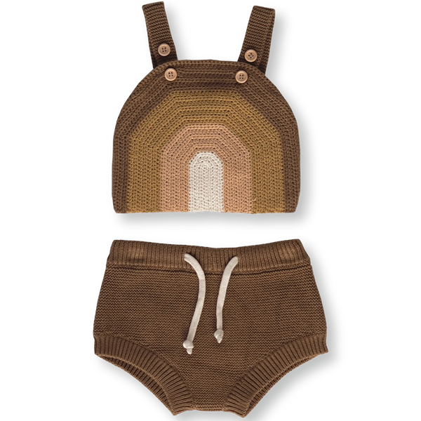 US stockist of Grown organic cotton rainbow hand crochet chocolate crop top and bloomers.