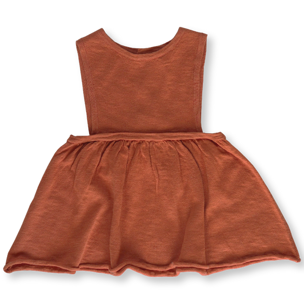 US stockist of Grown rust linen slub yarn pinafore dress