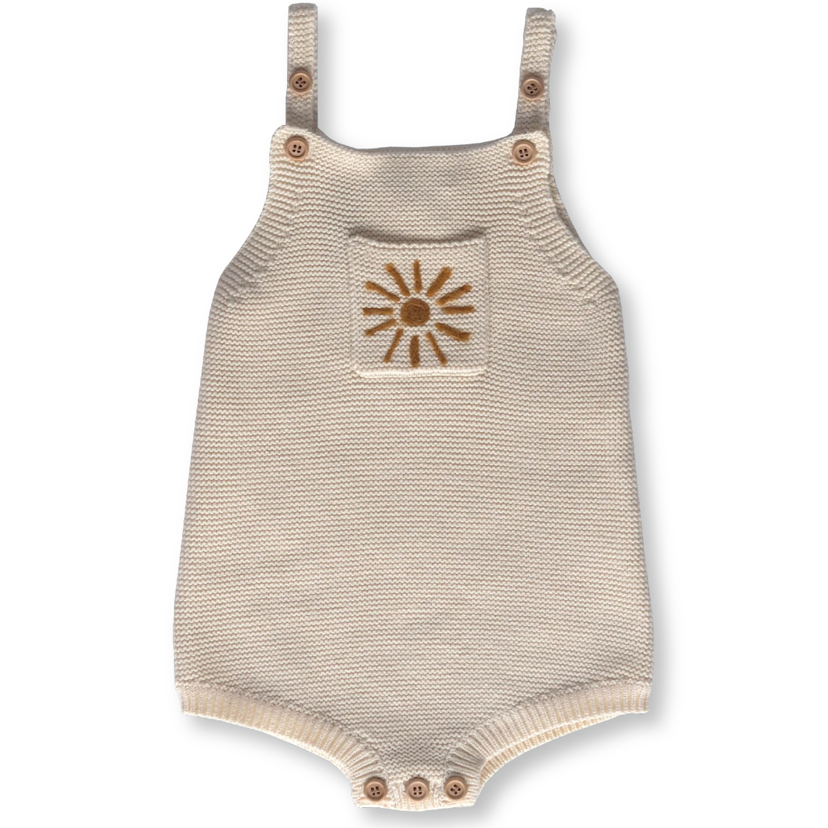 US stockist of Grown Clothing organic cotton pearl knit romper in milk with sun embroidery.