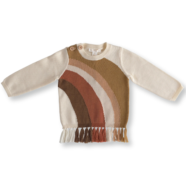 US stockist of Grown organic cotton gender neutral rainbow sweater with fringe detailing at hem.