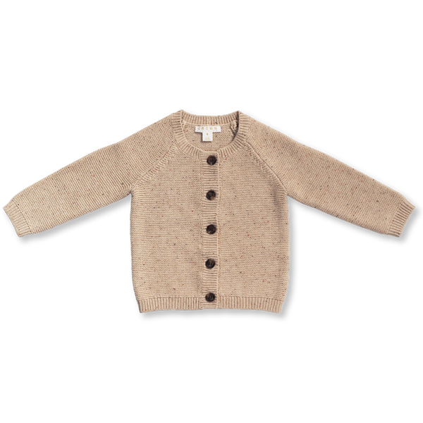 US stockist of Grown organic cotton, gender neutral speckled knit cardigan.