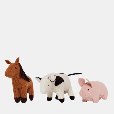 US stockist of Olli Ella's Holdie farm animal set.  Contains one horse, cow and pig.