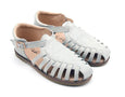 US stockist of Anchor & Fox's Waxed Leather, Closed Toe, Pale Grey Gelato Amalfi Sandals