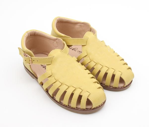 US stockist of Anchor & Fox's Waxed Leather, Closed Toe, Lemon Amalfi Sandals