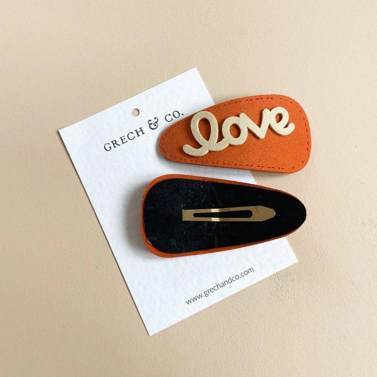 US stockist of Grech & Co Orange Love Hair Clip