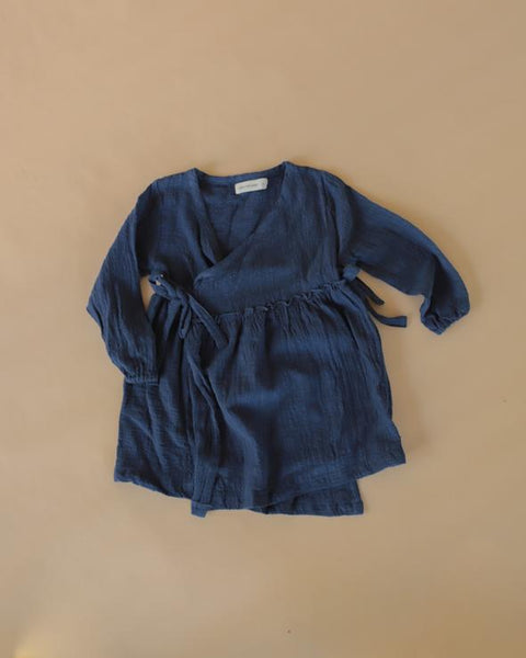 US stockist of Luca the Label midnight blue cotton gauze long sleeve Aaylah dress.