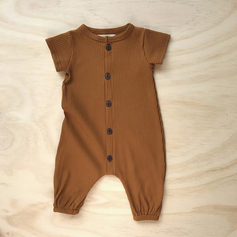 US stockist of Bel & Bow's mustard short sleeve ribbed cotton harem romper