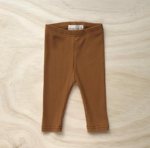 US stockist of Bel & Bow's mustard ribbed cotton leggings