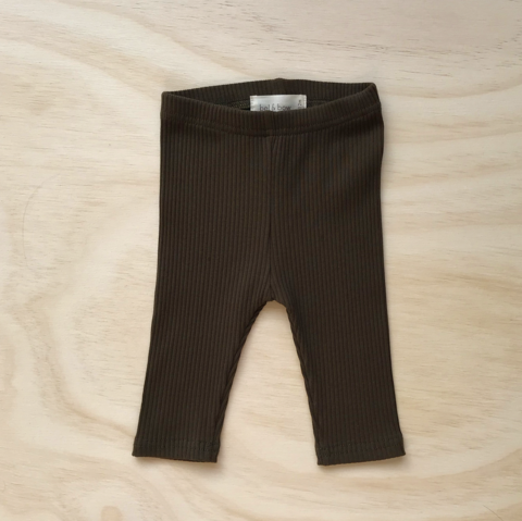 US stockist of Bel & Bow's olive ribbed cotton leggings