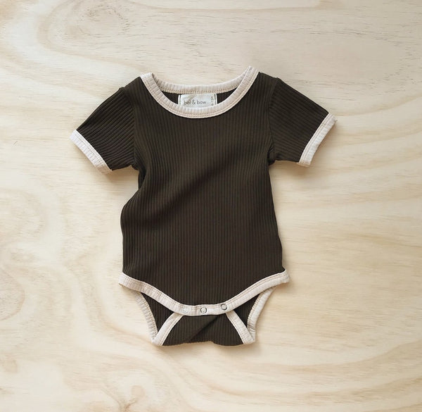 US stockist of ribbed cotton retro ringer bodysuit in olive