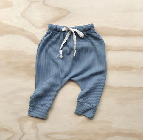 US stockist of Bel & Bow's dusty blue ribbed cotton harem jogger pants