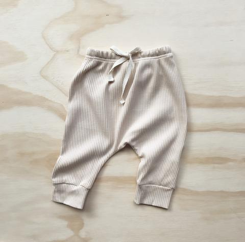 US stockist of Bel & Bow's ribbed cotton light oatmeal harem jogger pants