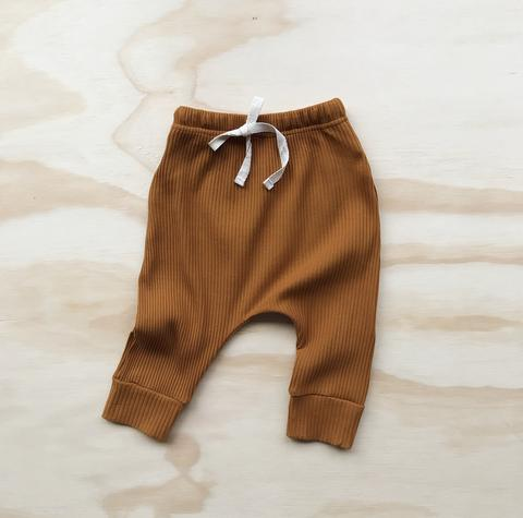 US stockist of Bel & Bow's mustard ribbed cotton harem jogger pants