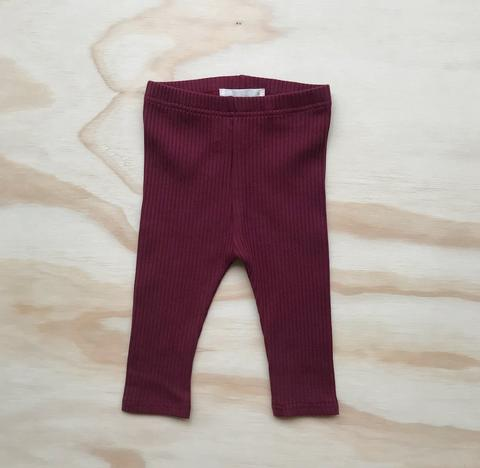 US stockist of Bel & Bow's berry ribbed cotton leggings