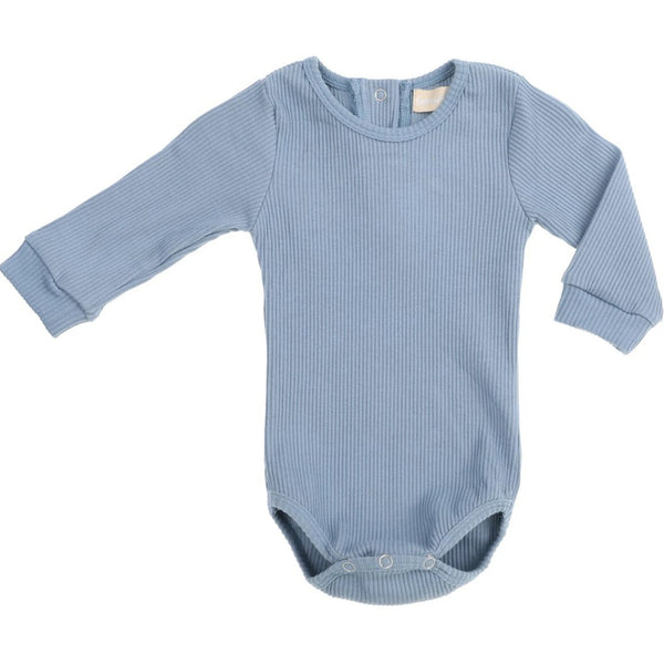 US stockist of Bonnie & Harlo blue ribbed bodysuit