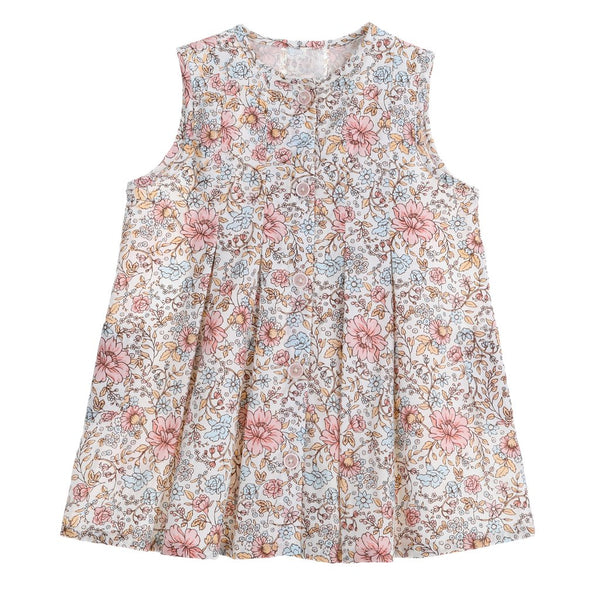 US stockist of Bonnie & Harlo's sleeveless, button up cotton dress.  Floral print in hues of pink and blue.