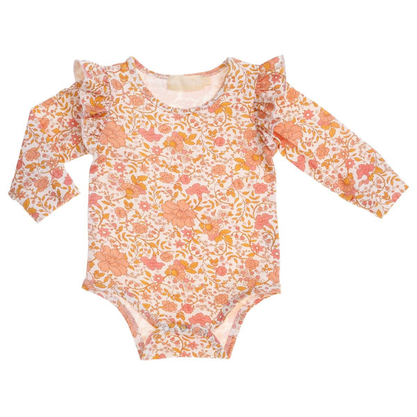 US stockist of Bonnie & Harlo's floral long sleeve bodysuit with ruffle detail at shoulders.  Snaps at crotch.
