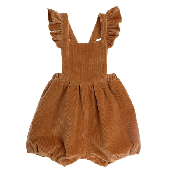 US stockist of Bonnie & Harlo's mustard thin cord shortalls with flutter shoulder straps which can be crossed and buttoned at back.