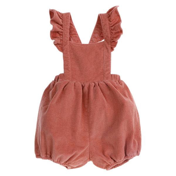 US stockist of Bonnie & Harlo's dusty pink thin cord shortalls with flutter shoulder straps which can be crossed and buttoned at back.