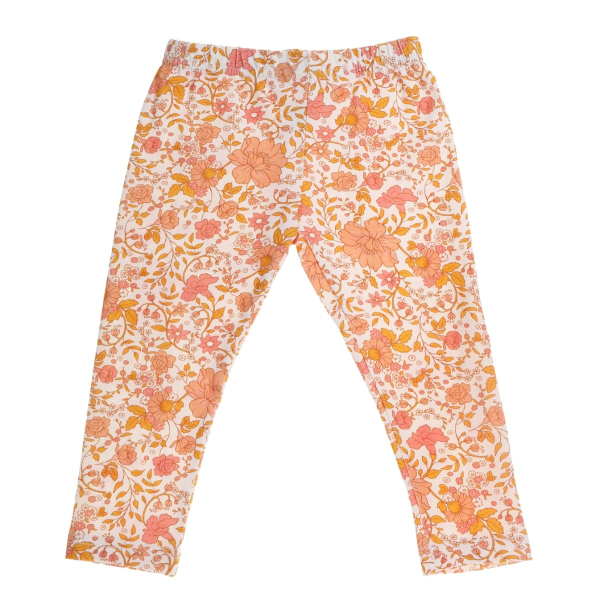 US stockist of Bonnie & Harlo's floral leggings in hues of pink and peach.