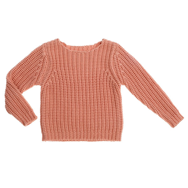 US stockist of Bonnie & Harlo's dusty pink, chunky knit cotton sweater.  Gender Neutral.
