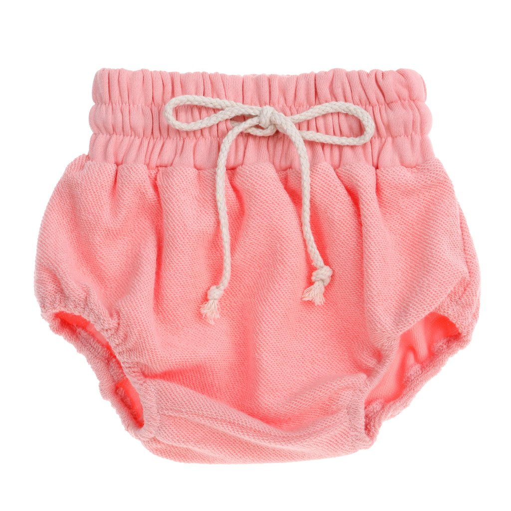 US stockist of Bonnie & Harlo's pink terry bloomers with functional natural colored drawstring waist.