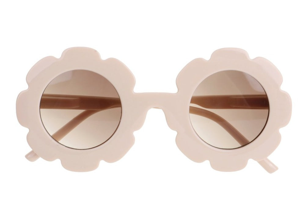 US stockist of Bonnie & Harlo cream daisy sunglasses with light brown lenses.