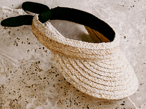 US stockist of Elle Porte's Florida Keys visor.  Handwoven from straw with elastic black tie at back and soft padding.