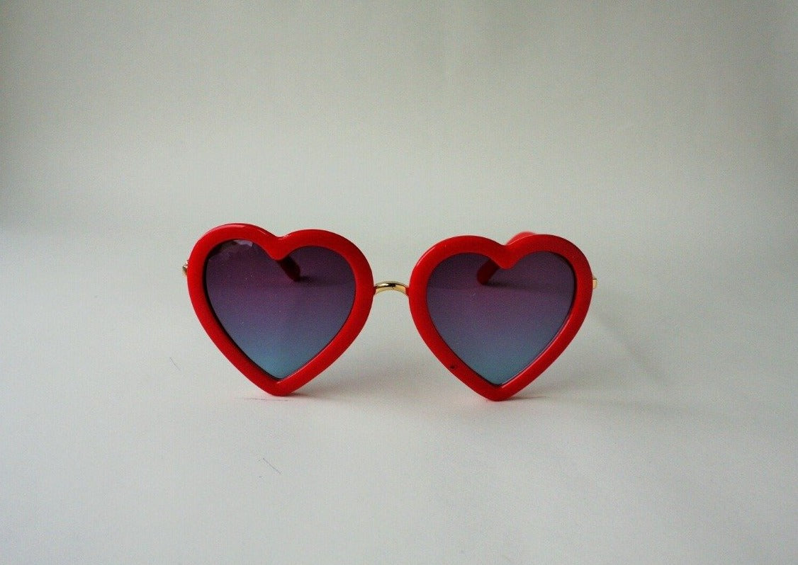 US stockist of Elle Porte's Heart shaped sunglasses in red.